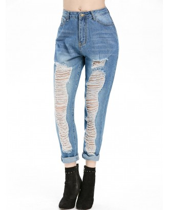 Distressed Five Pockets High Rise Jeans - Blue Koi S