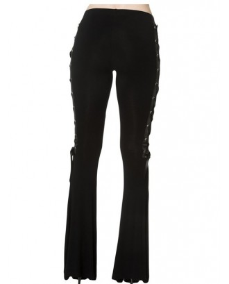DT0058 Casual Solid Color Slim Side Wide-leg Pants for Women - Black S