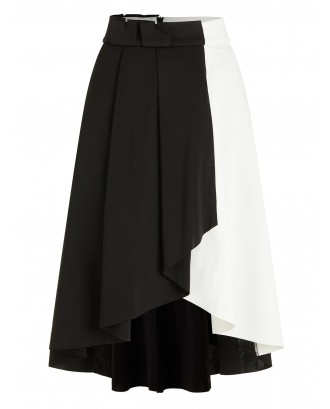 Black and White High Low Midi Skirt - Black Xl