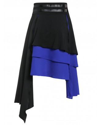 Asymmetric Faux Leather Insert Layered Gothic Skirt - Black L