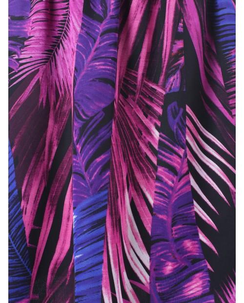 African Print Elastic Waist Longline Skirt -  L