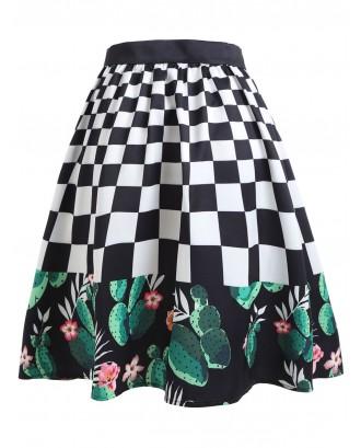 Checked Cactus A-line Midi Skirt -  S