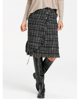 Button Embellished Frayed Slit Tweed Plaid Skirt - Black M