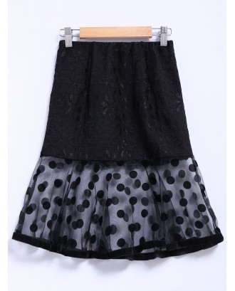 Chic Style Organza Splicing Polka Dot Print Ruffles Black Women's Skirt - Black M