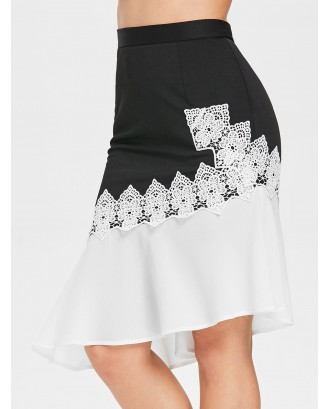 Color Block High Waist Fishtail Skirt - Black S