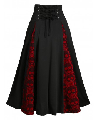 Halloween Skull Lace Insert Mock Button Lace-up Skirt - Black M