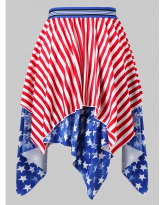 American Flag Print Midi Skirt -  M