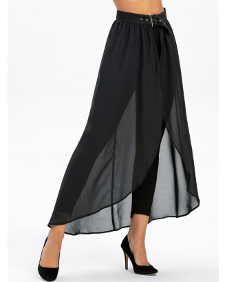 Buckle Strap High Slit High Low See Through Chiffon Skirt - Black Xl