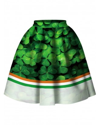 3D Leaf Print A Line Skirt - Green S