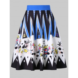 Drawing Printed Zip Skirt -  M