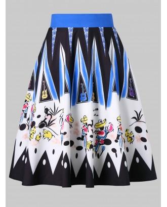 Drawing Printed Zip Skirt -  M