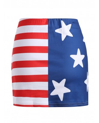 American Flag Mini Fitted Skirt -  L