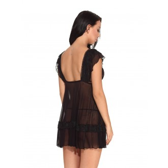 V Neck sexy nightdress Teddy Hollow-out Lingerie Sleepwear - Black Xl