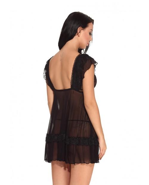 V Neck sexy nightdress Teddy Hollow-out Lingerie Sleepwear - Black Xl