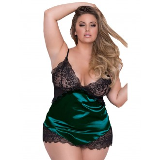 Adjustable Shoulder Straps Plus Size Babydoll Lingeries - Green 2xl