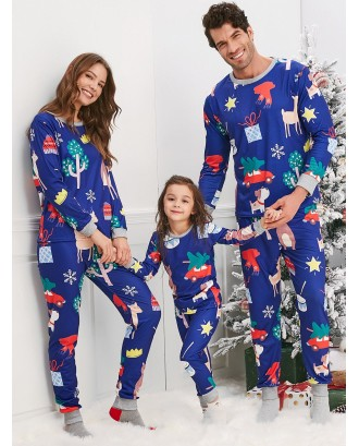 Christmas Cartoon Animal Print Family Pajama Sets - Blue Mom S
