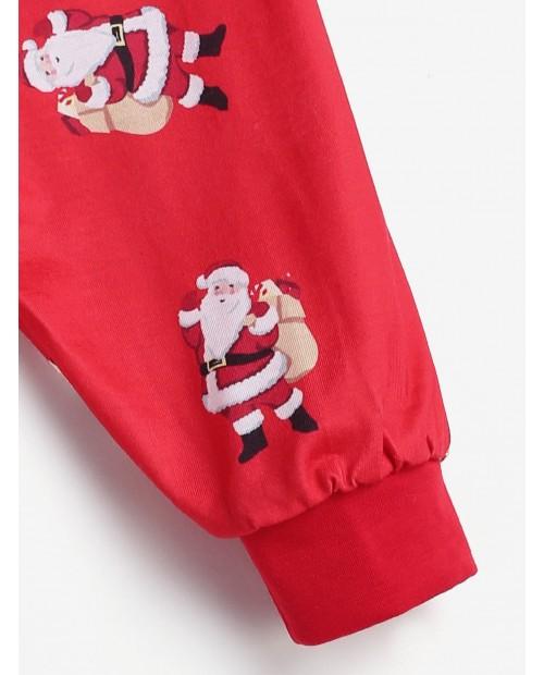 Santa Claus Patterned Matching Christmas Family Pajamas -  Dad M