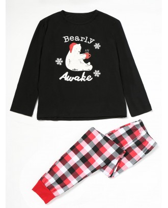 Bear Tartan Family Christmas Pajama Set - Red Dad M
