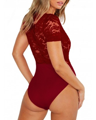 Lace Spliced See Through Plunging Neck Bodysuit - Red Wine M