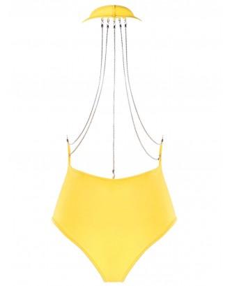 Metallic Chain Detail Lingerie Plunge Teddy - Yellow M