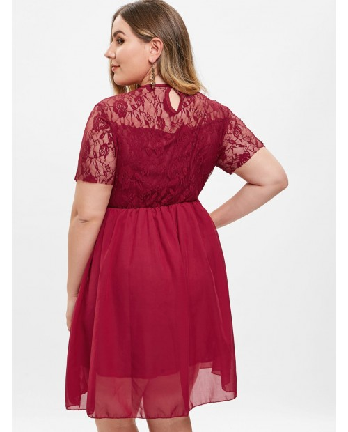 Lace Insert Plus Size A Line Dress - Red Wine 2x
