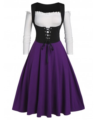 Plus Size Frilled Off Shoulder Dress and Lace Up Waistcoat Set - Purple L