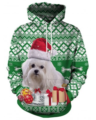 Christmas Dog and Gift Print Pullover Hoodie - Green M