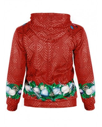 Christmas Ball Print Long Sleeve Hoodie - Lava Red Xl