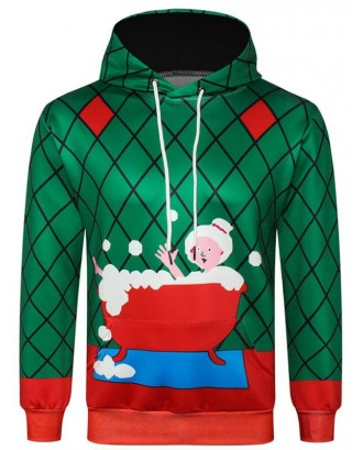 Christmas Grandma Printed Casual Hoodie - Deep Green Xs
