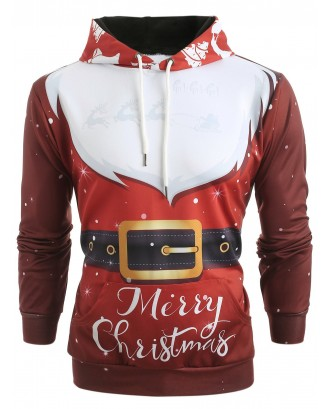 3D Santa Claus Costume Print Christmas Hoodie - Chestnut Red L
