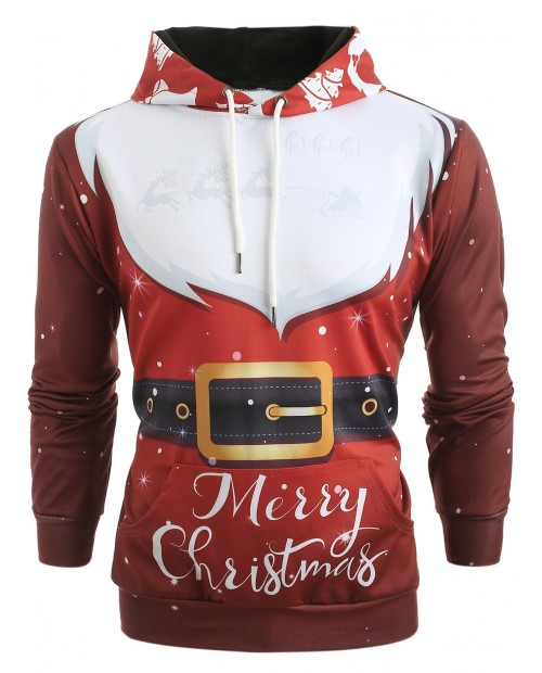 3D Santa Claus Costume Print Christmas Hoodie - Chestnut Red L