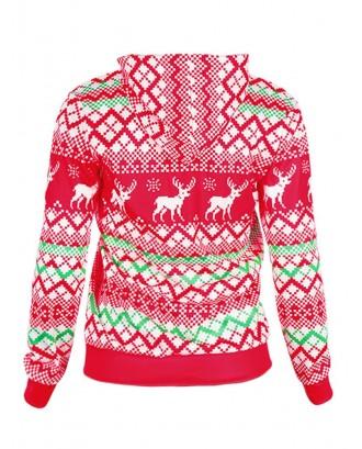 Christmas Cap Print Pullover Hoodie - Red M