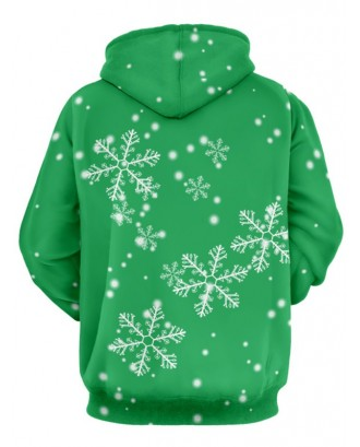 Christmas Cats Print Long Sleeve Hoodie - Green M