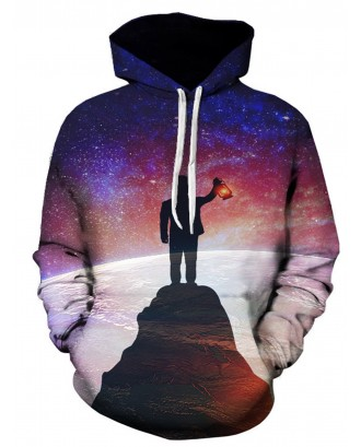 3D Galaxy Figure Print Pullover Hoodie -  5xl