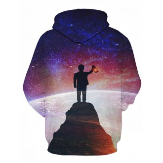 3D Galaxy Figure Print Pullover Hoodie -  5xl
