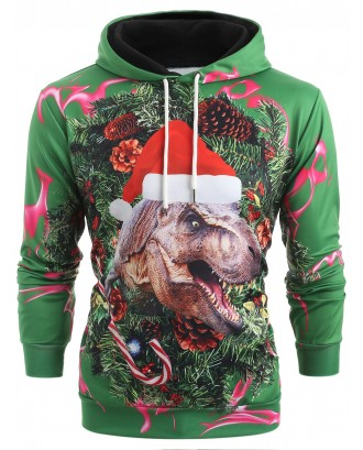 3D Christmas Dinosaur Print Kangaroo Pocket Hoodie - Medium Sea Green M