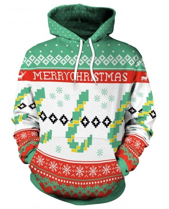 Christmas Letter Print Long Sleeve Hoodie - Green Xl