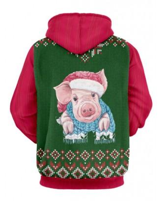 Christmas Pig Print Drawstring Hoodie -  M