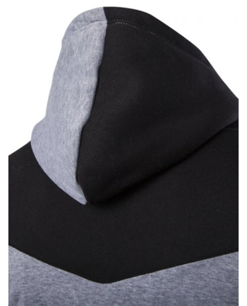 IZZUMI Classic Color Block Front Pocket Hooded Long Sleeves Hoodie For Men - Light Gray L