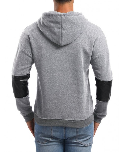 PU Leather Spliced Pullover Hoodie - Light Gray M