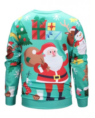 Cute Santa Claus Christmas Elements Print Sweatshirt - Light Sea Green M