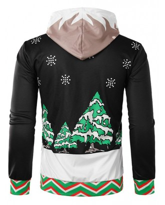 Christmas Horse Feet Printed Pullover Hoodie -  2xl