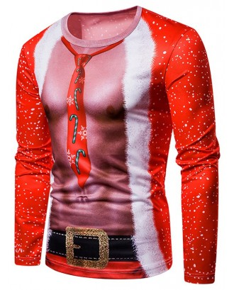 3D Male Body Printed Crew Neck Tee - Red L