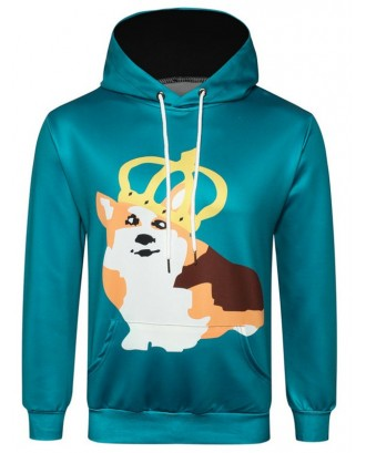 Cartoon Dog Printed Pullover Hoodie - Macaw Blue Green Xs