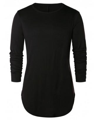 Arc Hem Solid Round Neck T-shirt - Black 2xl