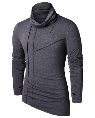Asymmetric Pile Heap Collar T-shirt - Black Xl