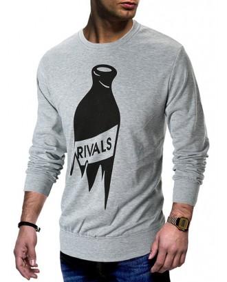 Bottle Print Crew Neck T-shirt - Gray M