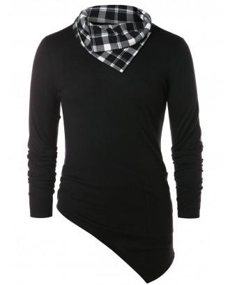 Asymmetric Checked Pattern Pile Heap Collar T-shirt - Black Xl