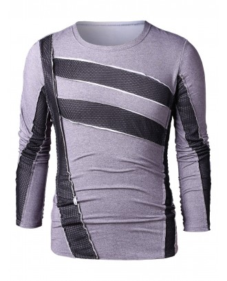 Casual Long Sleeve Mesh Panel T-shirt - Gray L