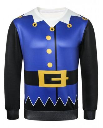 Button Belt Printed Casual Sweatshirt - Cobalt Blue Xs
